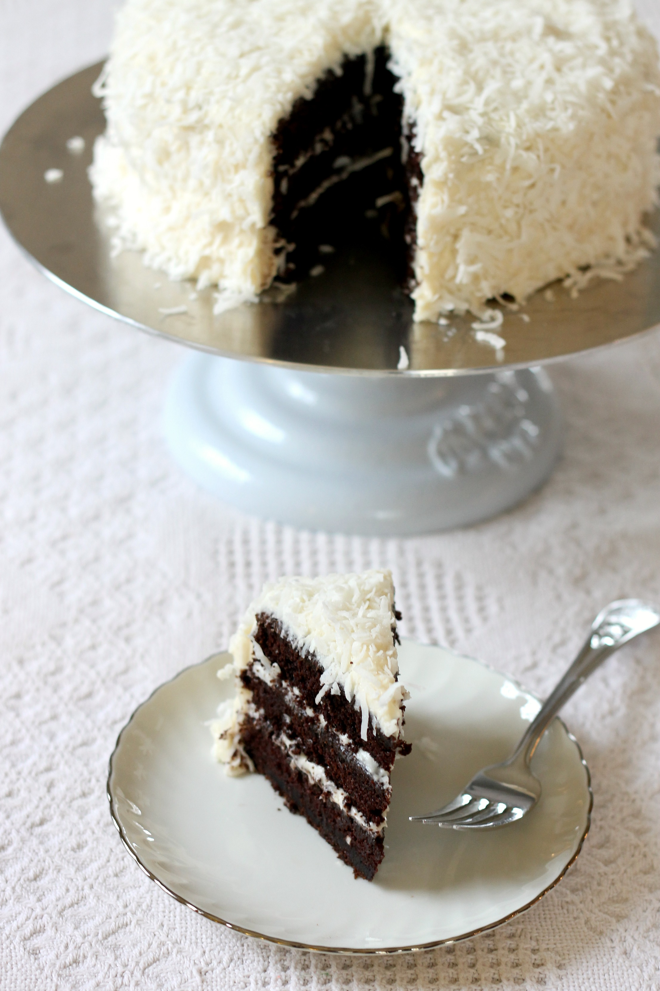 Chocolate Cake With Cream Cheese Frosting And Coconut We